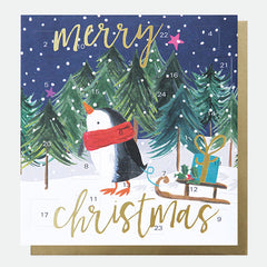 Merry Christmas Penguin Advent Card