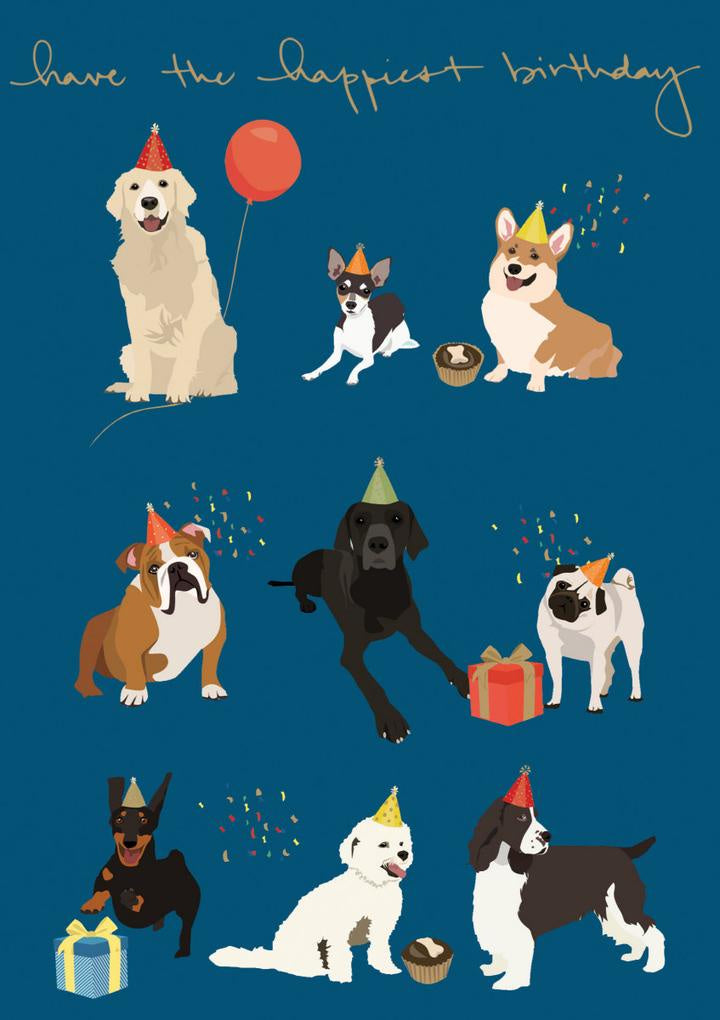 Nine Dogs with Hats Birthday Card