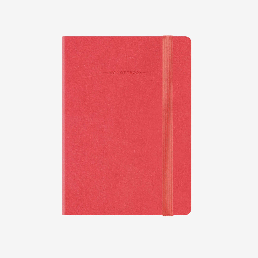 Large Squared Neon Coral Notebook