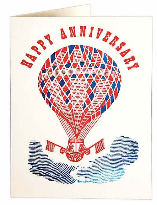 Happy Anniversary Hot Air Balloon Card