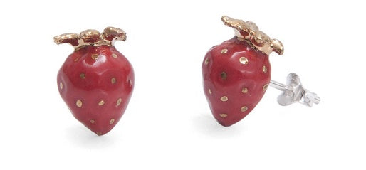 Hand Painted Small Strawberry with Gold Leaves Stud Earrings