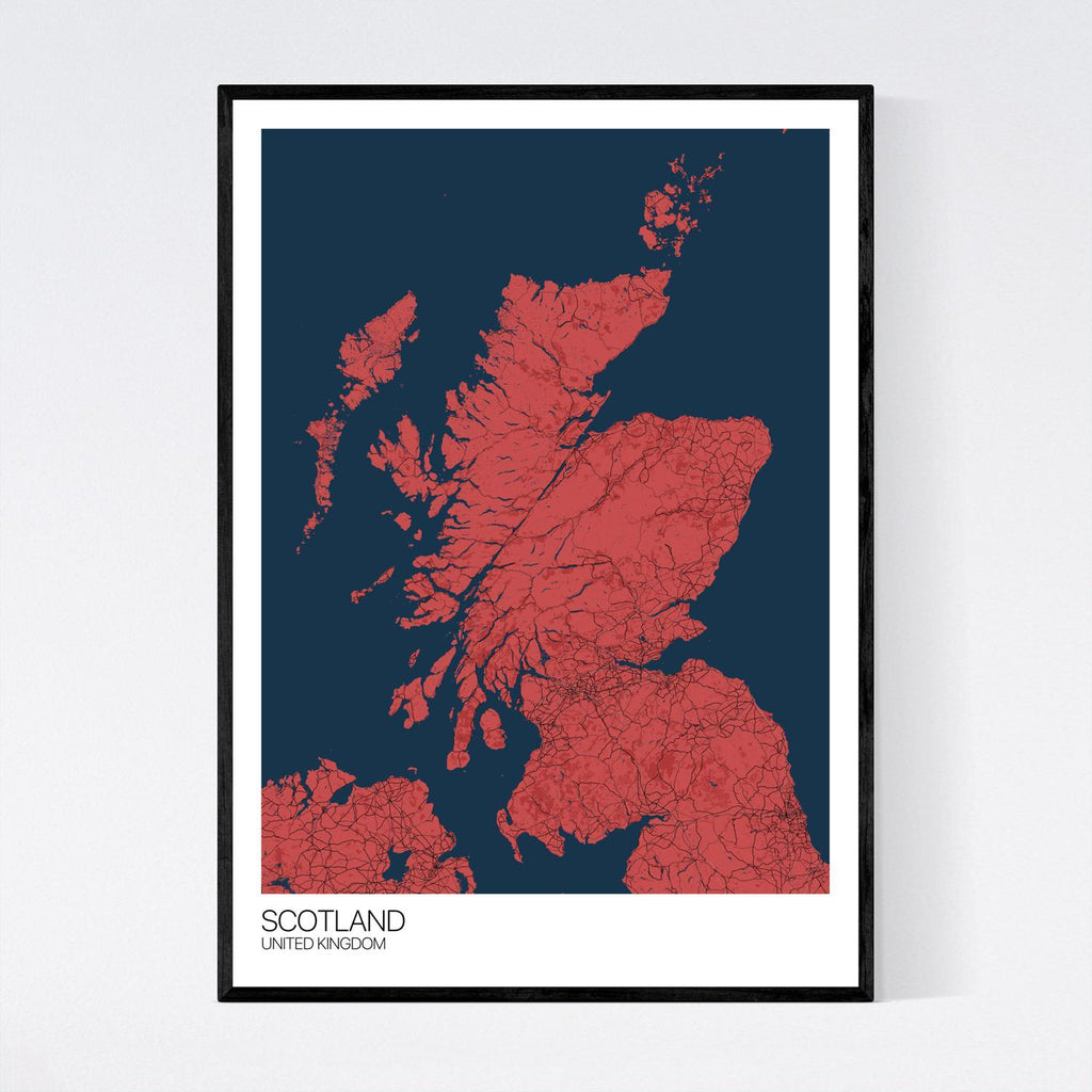 Scotland Red, Blue and Black Map Print in Tube 50x70cm