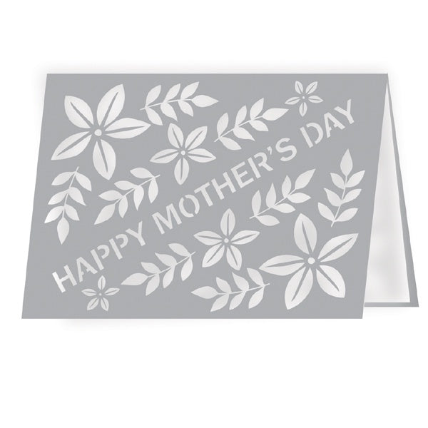 Happy Mother's Day Floral Grey Lasercut Card