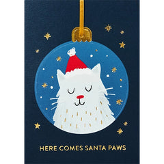 Here Comes Santa Paws Cat Bauble Christmas Card