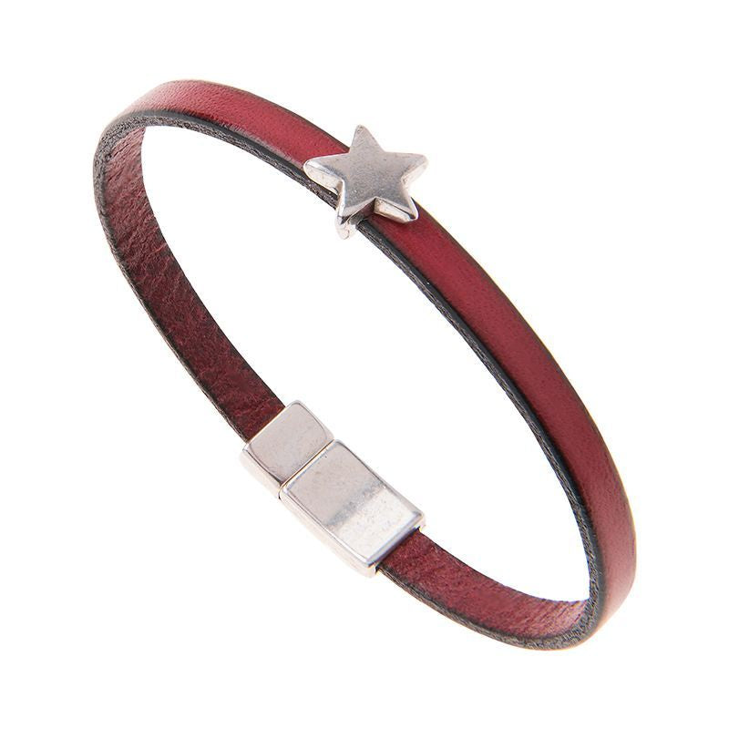Carrie Elspeth Burgundy Leather Charm Bracelet with Star