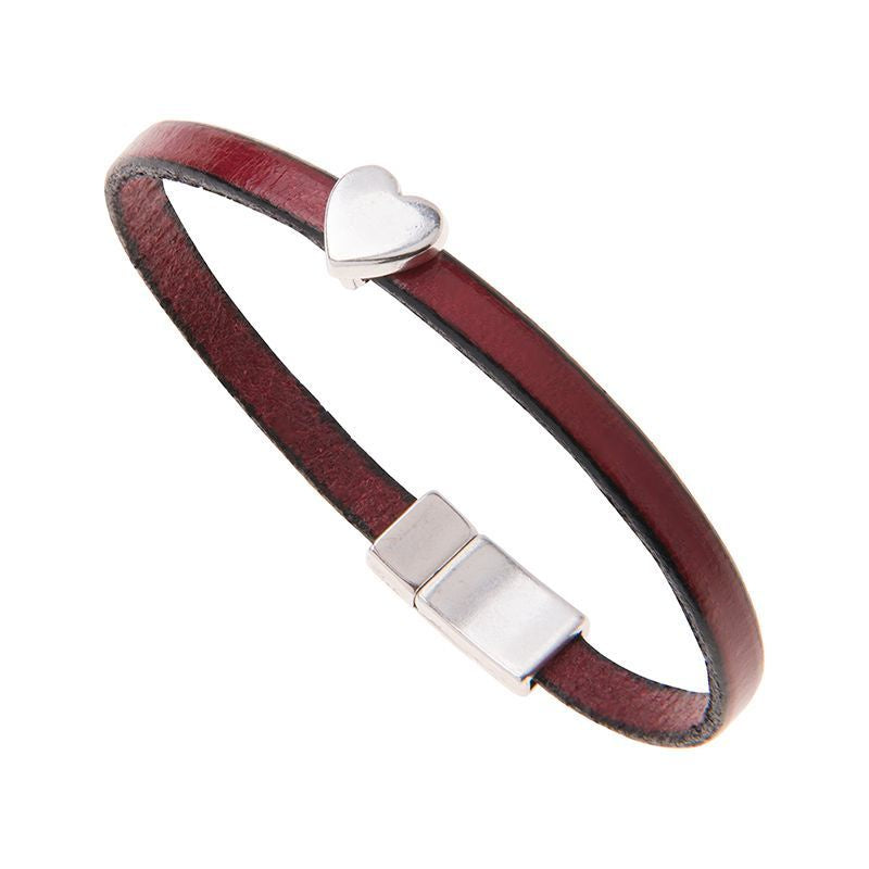 Carrie Elspeth Burgundy Leather Charm Bracelet with Heart