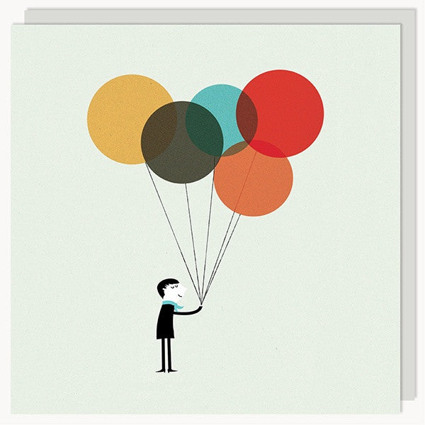 Monsieur With Balloons Card