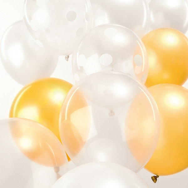 White Mix Pack of 12 Balloons