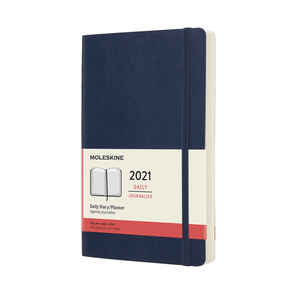 Moleskine 2021 Large Daily Planner Softcover Sapphire Blue