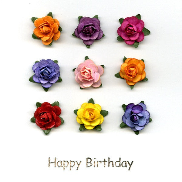 9 Small Flowers Birthday Card