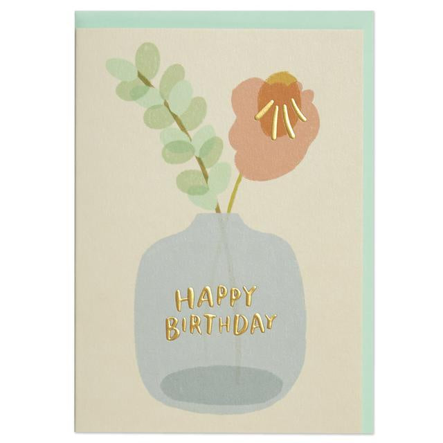 Happy Birthday Flower in Vase Card