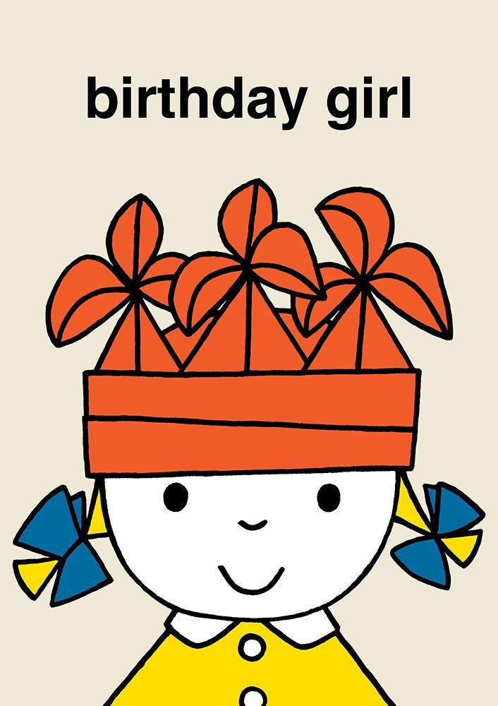 Dick Bruna Birthday Girl in Hat Card