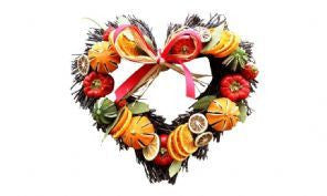 Small Dried Fruit Twig Heart Wreath