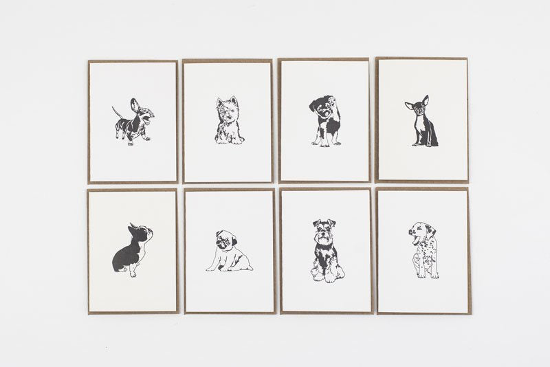 Pack of 8 Letterpress Town Puppy Cards