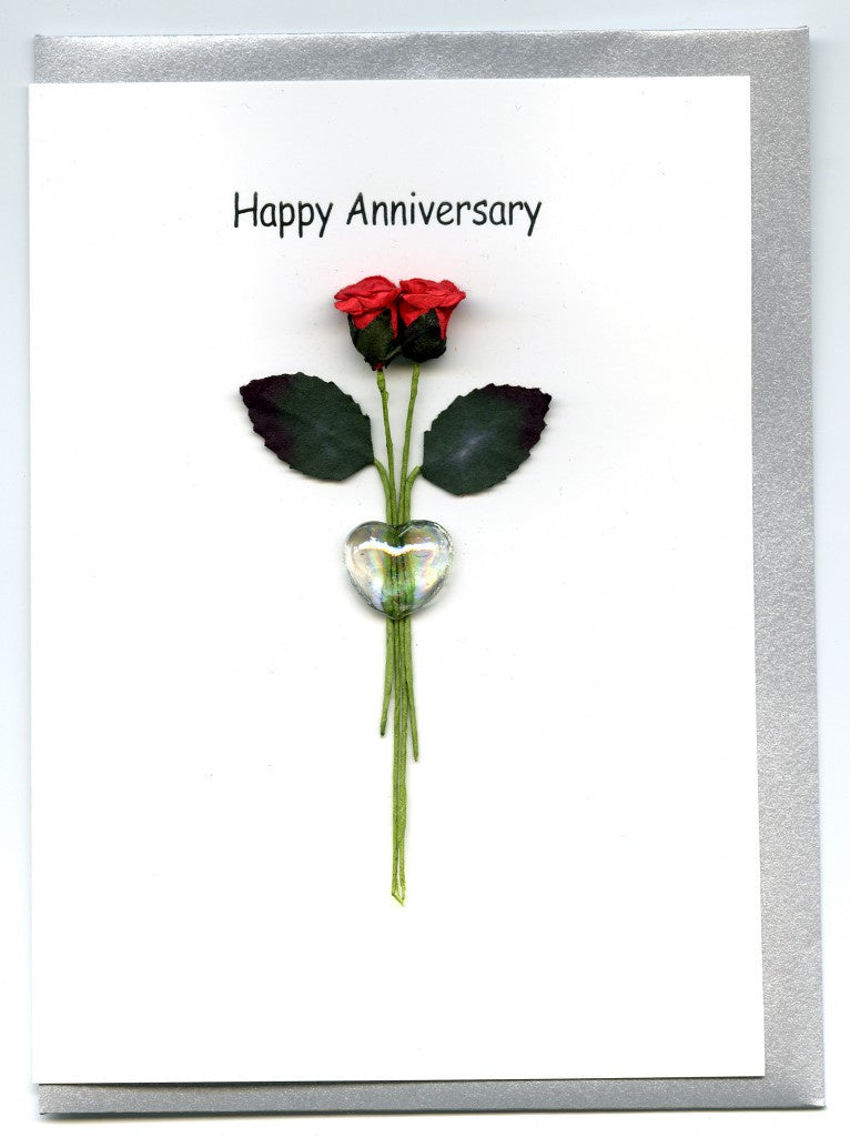 Glass Heart 2 Roses Anniversary Card