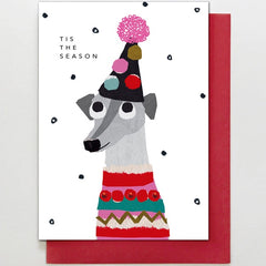 Dog in Christmas Outfit Card
