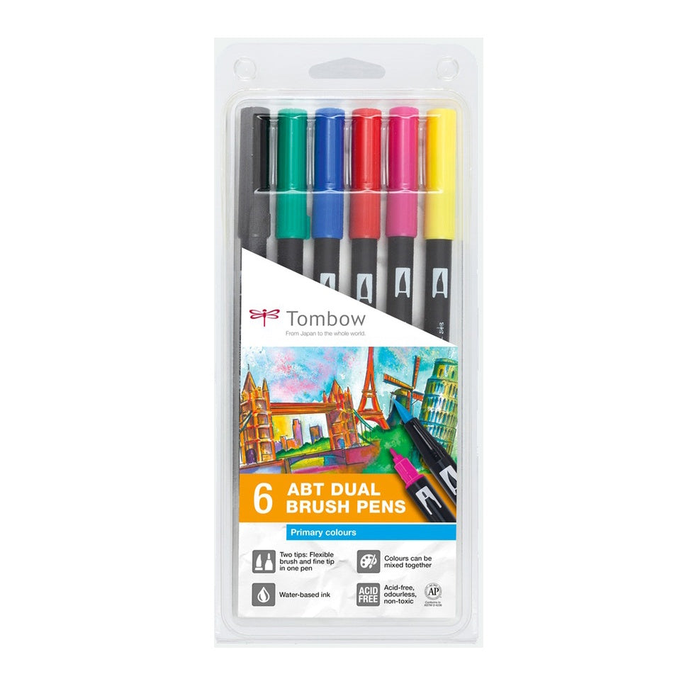 Tombow Dual Brush Pens Primary Colours Set