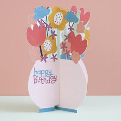 Vase of Flowers Fold-Out Birthday Card