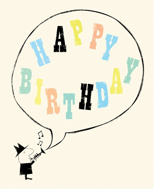 Happy Birthday Typography Speech Bubble Card