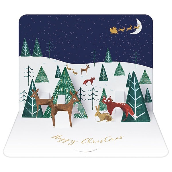 Woodland Scene Box of 5 Pop-Up Christmas Cards