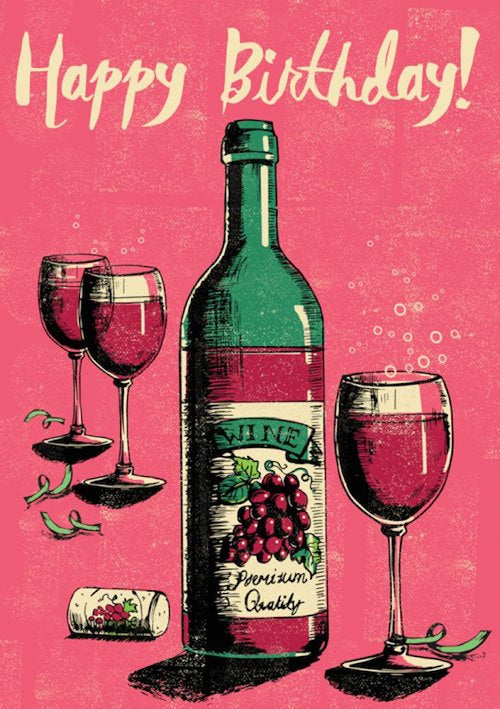 Happy Birthday Wine Card