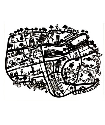 Lasercut A4 Edinburgh Map - Black