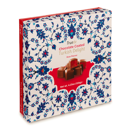 Chocolate Coated Rose Turkish Delight Tin 125g