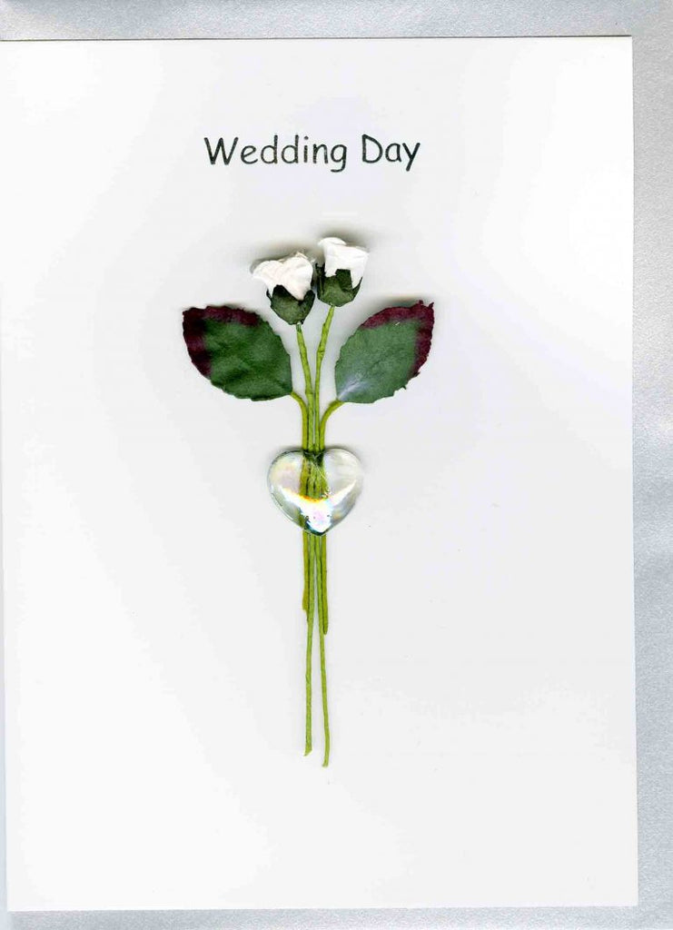 2 Roses with Glass Heart Wedding Card