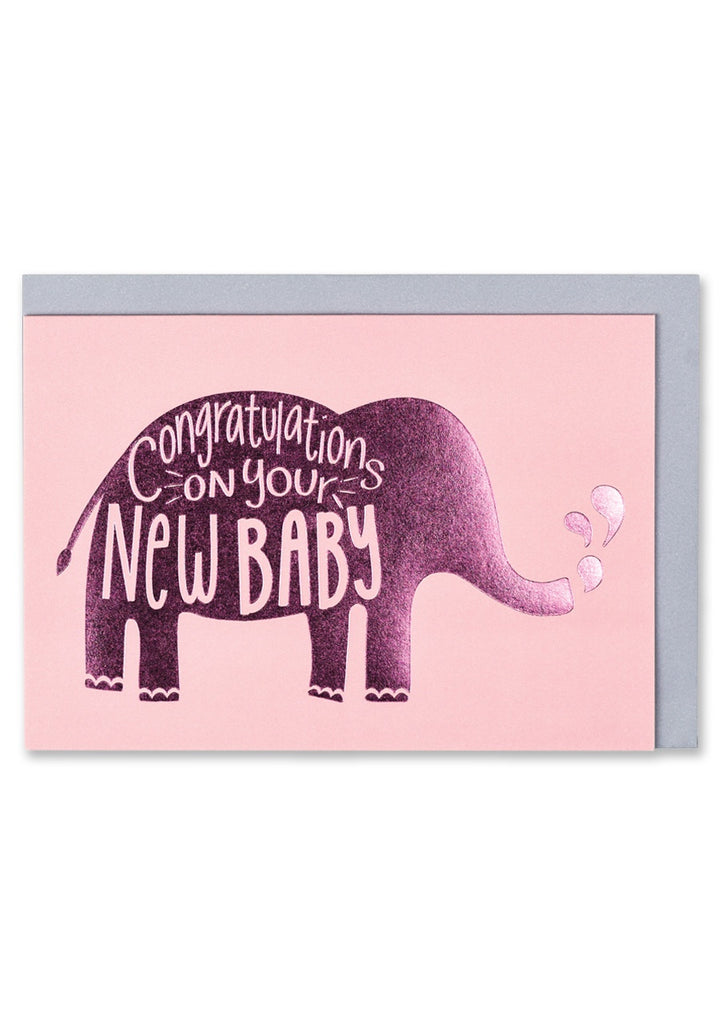Pink New Baby Elephant Card