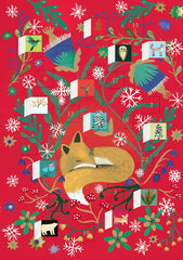 Sleepy Fox Red Advent Calendar Card