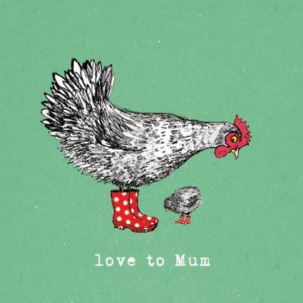 Hen and Chick Love to Mum Card