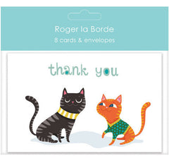 Black And Ginger Cat Thank You Card Pack of 8