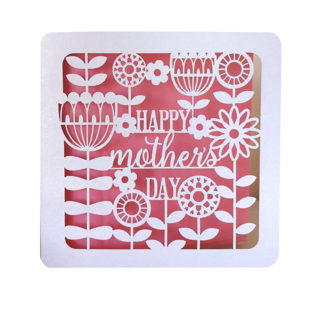 Happy Mother's Day Pearl and Pink Lasercut Card