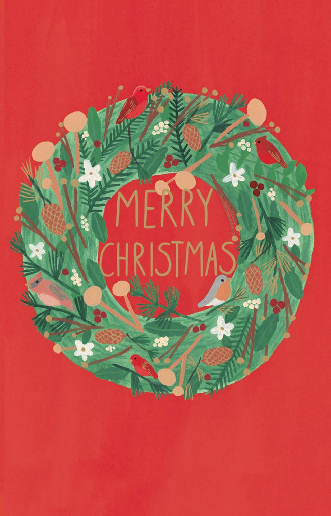 Christmas Wreath Card Pack of 8