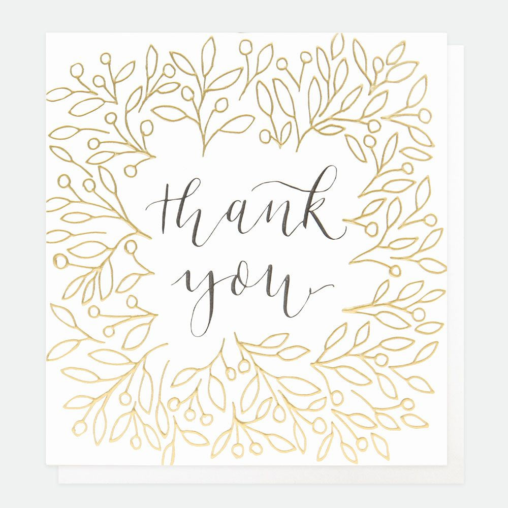 Thank You Gold Leaves and Berries Card