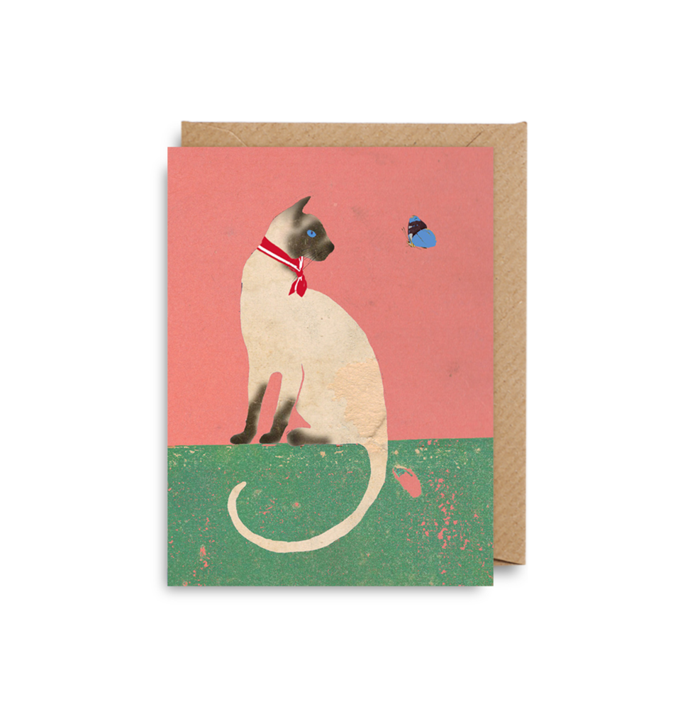 Siamese Cat and Butterfly Card