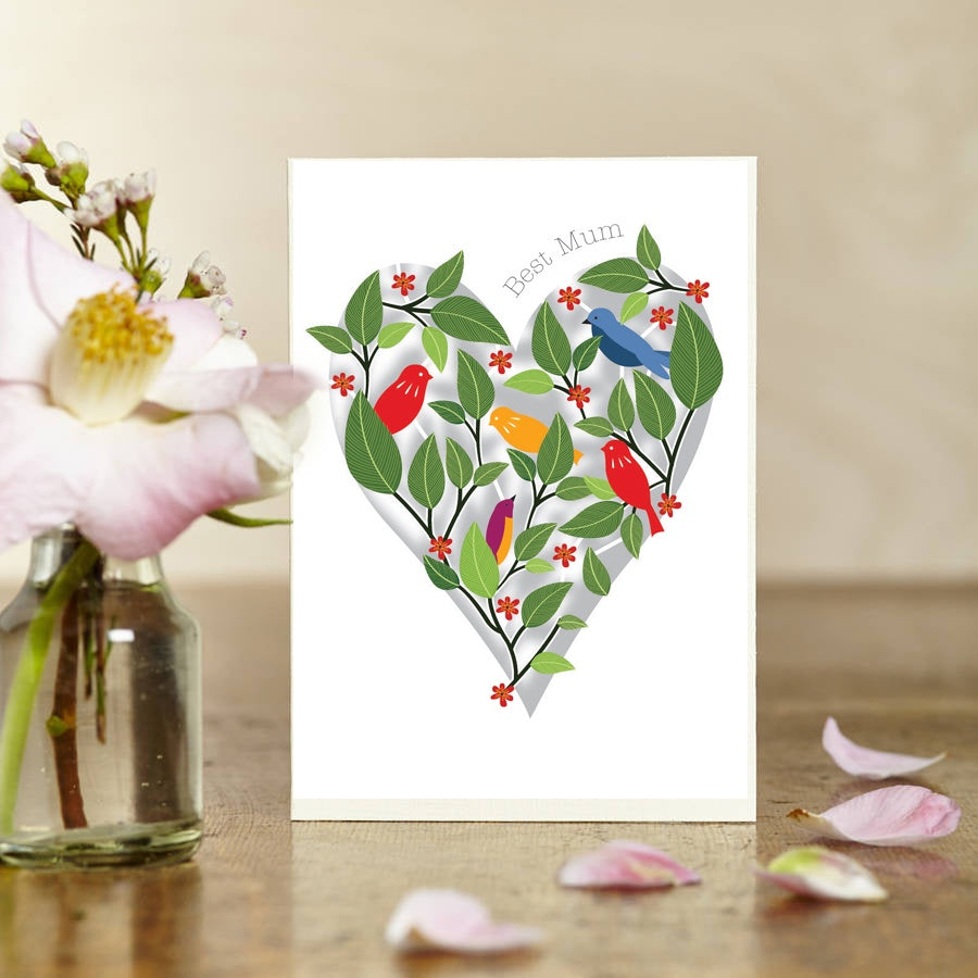 Best Mum Heart with Birds Lasercut Card