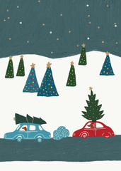 Dogs, Cars, Trees Christmas Card
