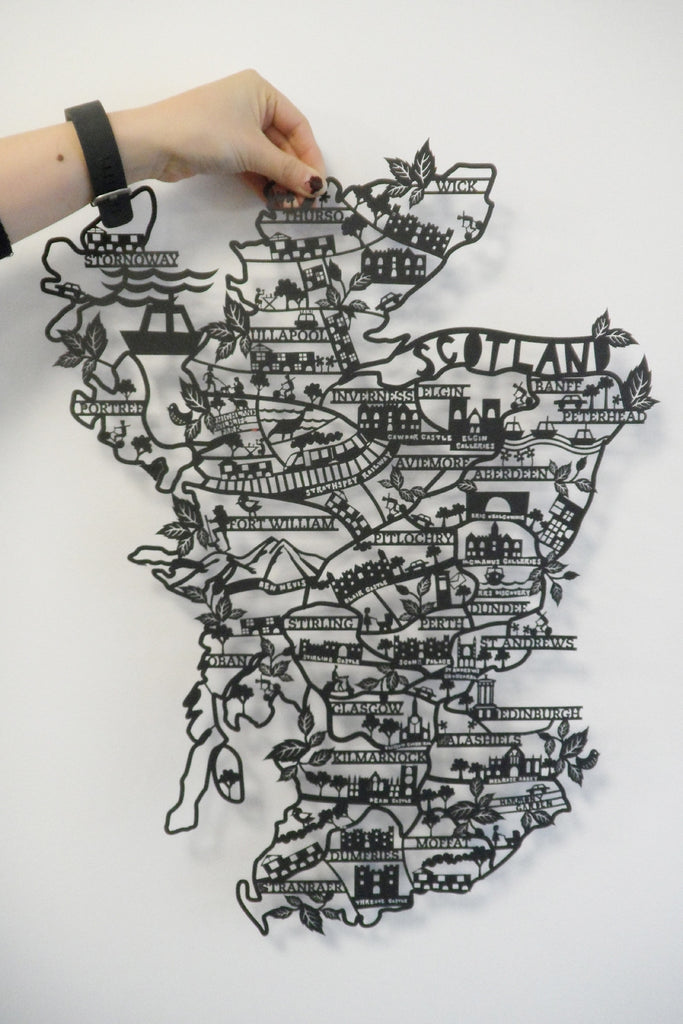 Scotland A2 Lasercut Map in Tube - Black