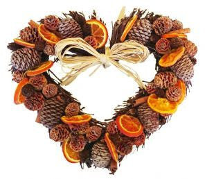 Orange and Cone Twig Heart - 48cm