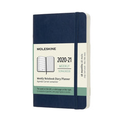 Moleskine 2020/21 Sapphire Blue Academic Diary Pocket Soft Cover