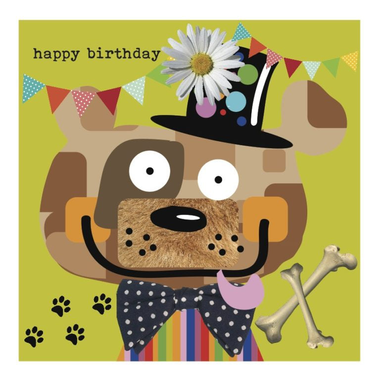 Colourful Dog Happy Birthday Card