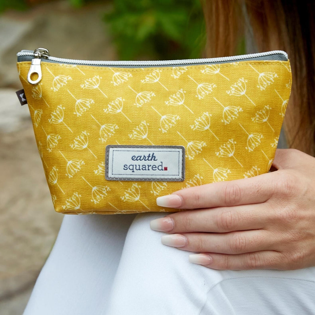 Mustard Dandelion Print Oil Cloth Make Up Bag