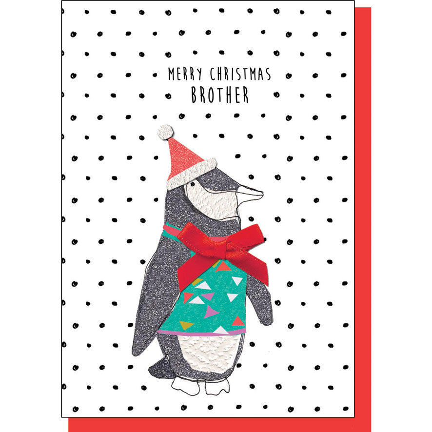 Merry Christmas Brother Penguin Card