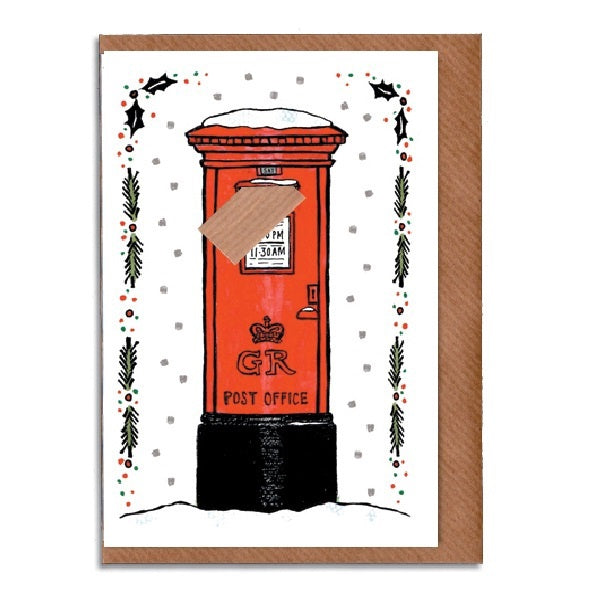 Snowy Postbox with Envelope Christmas Card