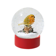 Botanical Christmas Robin Snow Globe