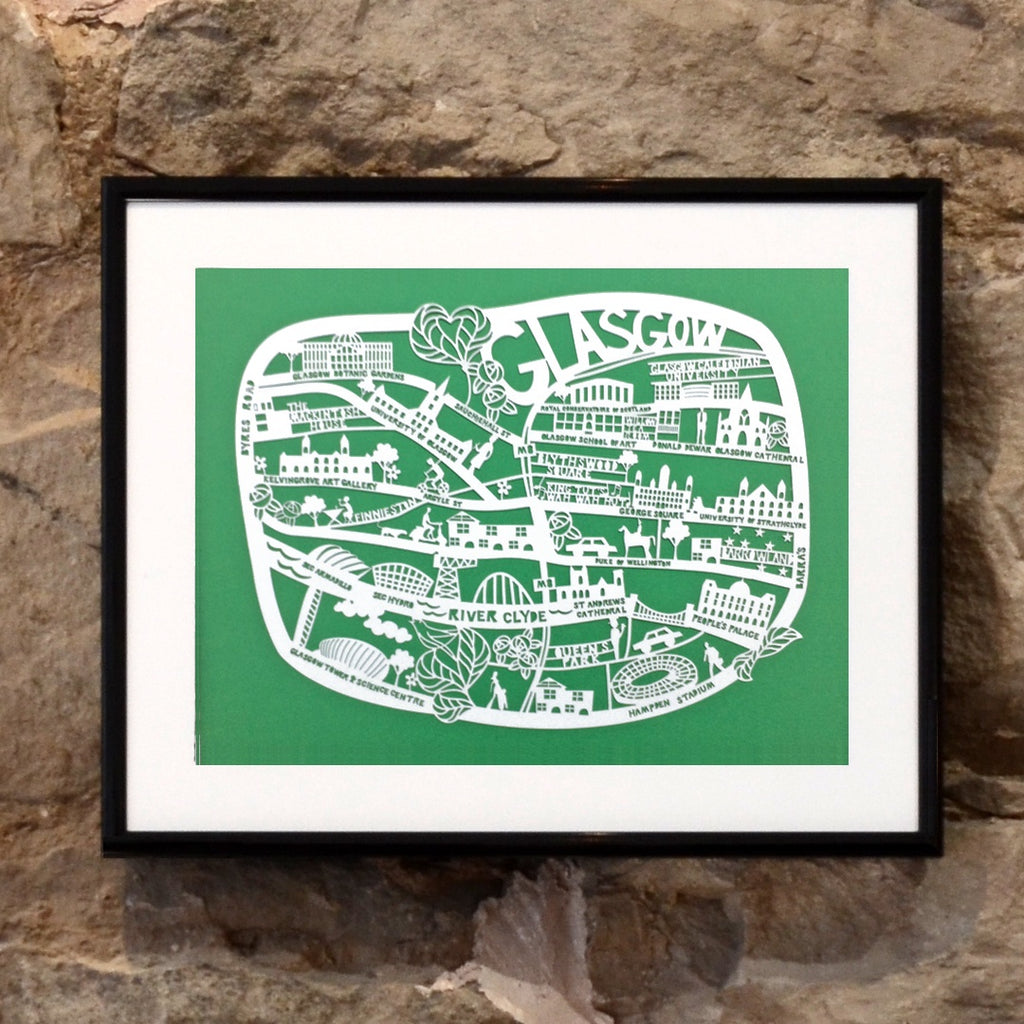 Lasercut A4 Glasgow Map - White on Green