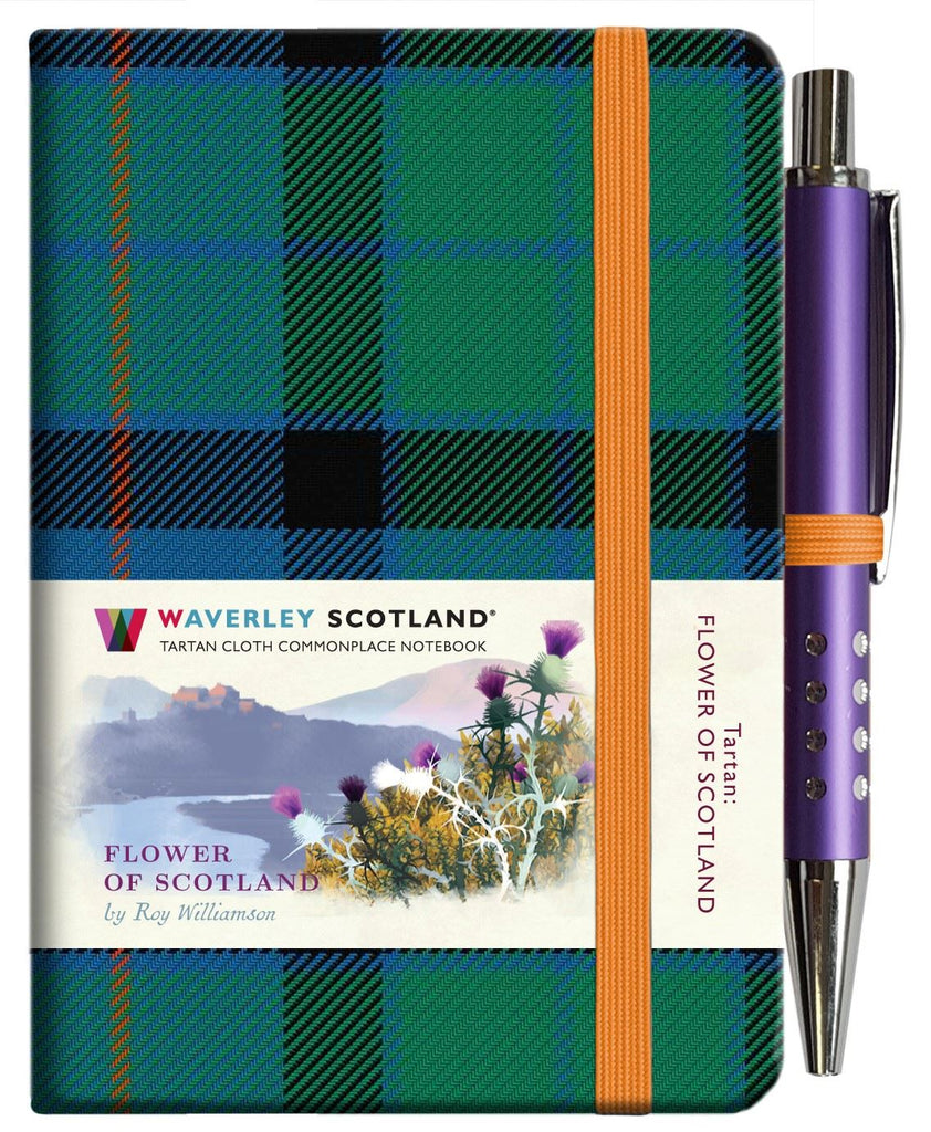 Mini Tartan Notebook With Pen - Flower Of Scotland
