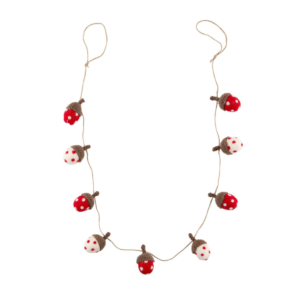 Red and White Dotty Acorn Garland Decoration