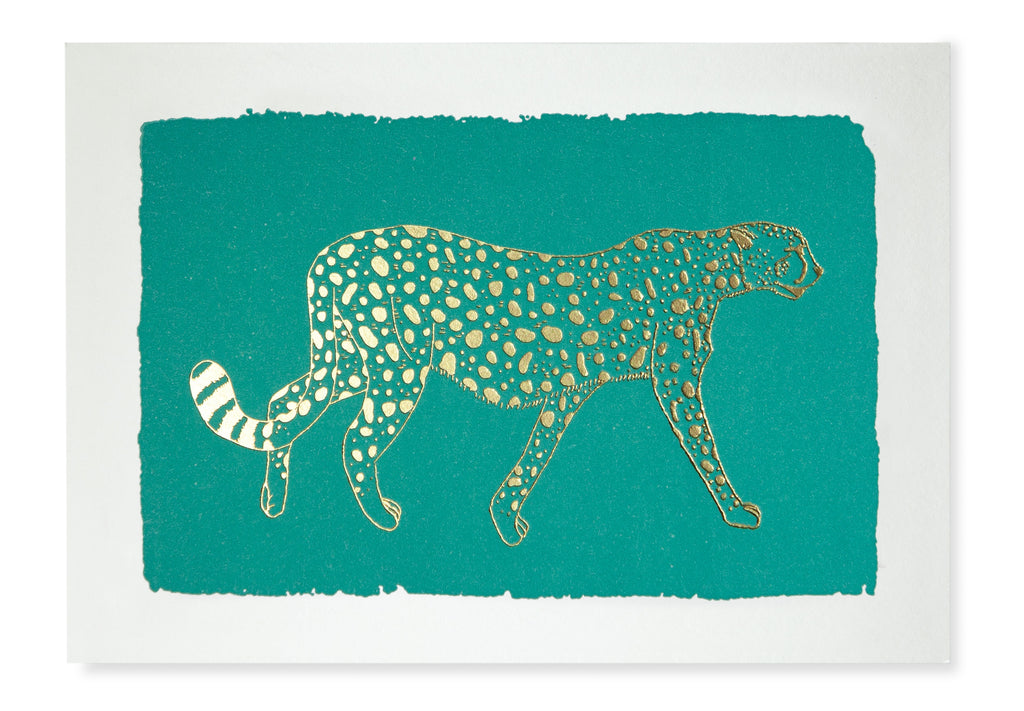 Gold Foiled Mint Cheetah Pack of 5 Cards